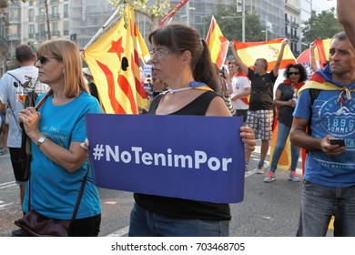 arcelona, Spain - august 26, 2017:  Thousands of people have gathered in Barcelona for an anti-terror demonstration in solidarity with the victims of the recent attack
