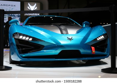 Arcfox GT Race Edition in Geneva International Motor Show (GIMS) in Geneva Switzerland March 2019. Electric supercar with 1019 horsepowers. This car is designed for race tracks. Metal turquoise color.