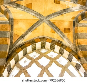 An Arch of the Amalfi Cathedral in Amalfi Italy dedicated to the Apostle Saint Andrew in the Piazza del Duomo in Amalfi Italy off the coast of Salerno Gulf on the Tyrrhenian Sea.
