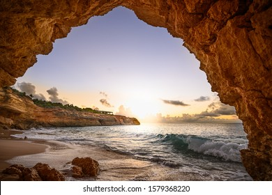 the arch in Anguilla at sunset