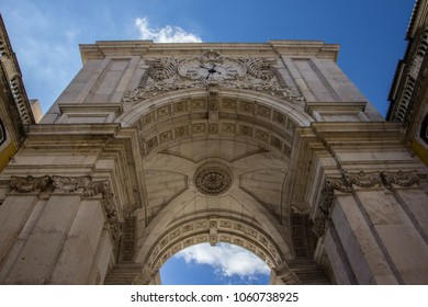 The arch of Augusta. Important and ancient monument of the city of Lisbon seen from below with the blue sky in the background. We can see all the details of this beautiful European construction;