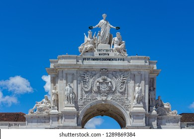 The arch of Augusta Rua, the triumphal arch connecting the Commerce Square to the Augusta Street, an historical building in Lisbon, Portugal.