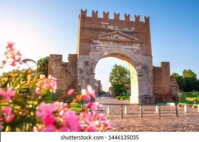 Arch of Augustus. Rimini, Italy. Famous oldest Roman Triumphal Arch in Rimini
