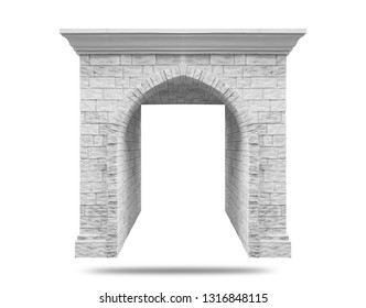 Arch in the brick wall of beige cut stone and travertine marble for a window or door in the classic style