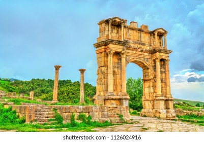 Arch of Caracalla at Djemila. UNESCO world heritage in Algeria