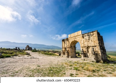 The Arch of Caracalla, the main entrance gate during the period of ancient roman empire in Volubilis in Morocco