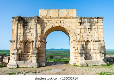 Arch of Caracalla at the Roman Ruins of Volubilis in Morocco