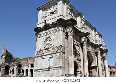 The Arch of Constantine (Arco Constantino), a ruin of the ancient Roman empire stands alongside the Colosseum in Rome, Italy.