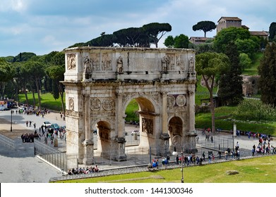 The Arch of Constantine (Italian: Arco di Costantino) is a triumphal arch in Rome, situated between the Colosseum and the Palatine Hill. It was erected by the Roman Senate to commemorate Constantine I
