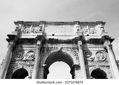 Arch of Constantine in Rome, Italy. Black and white vintage style.