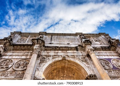 Arch of Constantine Rome Italy Arch built in 315 AD to celebrate Emperor Constantine's victory in 312 over co-emperor Maxenntius.