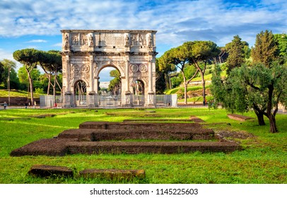 Arch of Constantine. Triumphal arch in Rome, Italy. North side, from the Colosseum.