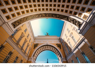 The Arch of the General Staff Building. The building is located in Palace Square, in front of the Hermitage Museum. Saint Petersburg, Russia.