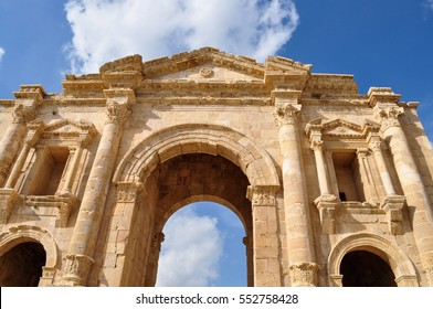 The Arch of Hadrian in Jerash, Jordan, erected to honor the visit of Roman Emperor Hadrian to the ancient city