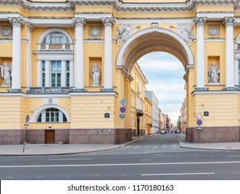 Arch of the historic Senate and Synod building on Senate Square in St. Petersburg, Russia