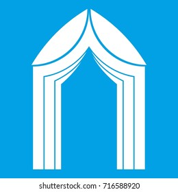 Arch icon white isolated on blue background  illustration