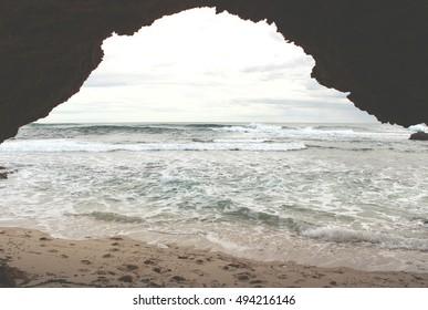 Arch on the ocean beach, Beach number sixteen, Rye, Mornington Peninsula, Australia