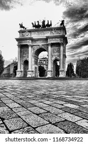 Arch of Peace (Arco della Pace) in Milan, Italy. Photo in black & white.