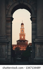 Arch of Peace, or Arco della Pace and bell tower of Sforza Castle in Italian, in Milan, Italy.