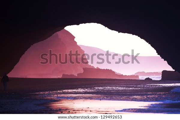 Arch rock formation on the beach, Morocco