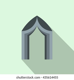 Arch tent icon, flat style