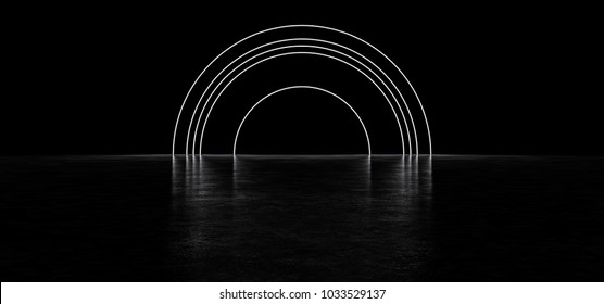 Arch of thin luminous lines. 3D Render