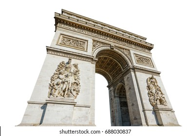 Arch of triumph. Arc de Triomphe at the western end of the Champs Elysees road at center of Place Charles de Gaulle in Paris city of France. Isolated on white background and with copy space.