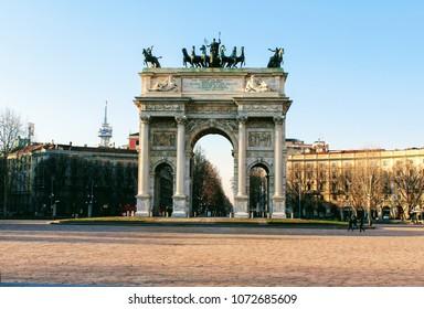 Arch of Triumph (Arco della Pace), Park Sempione Milan, Italy