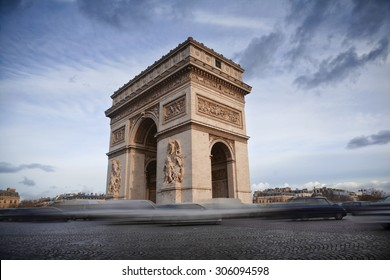 Arch of Triumph on the Champs Elysees in Paris, France