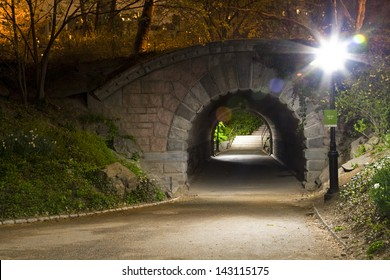 Arch and tunnel in Central Park, New York City.