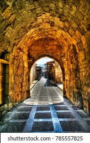 Arch view to Jbail market and street in Lebanon