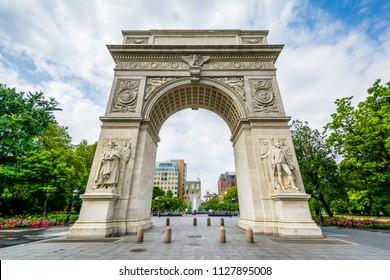 The arch at Washington Square Park, Greenwich Village, Manhattan, New York.