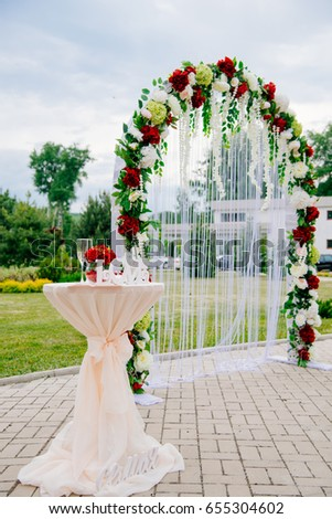 Arch Wedding Ceremony Decorated Cloth Flowers Stock Photo Edit Now