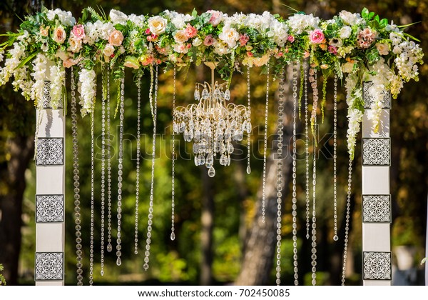 Arch Wedding Ceremony Decorated Crystal Chandelier Stock Image