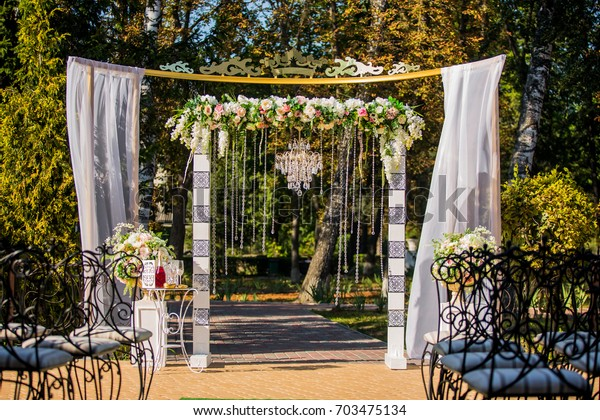Arch Wedding Ceremony Decorated Crystal Chandelier Stock Photo