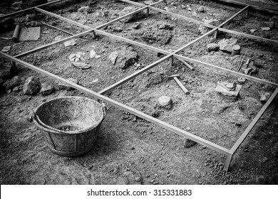 Archaeological excavation. Black and White.