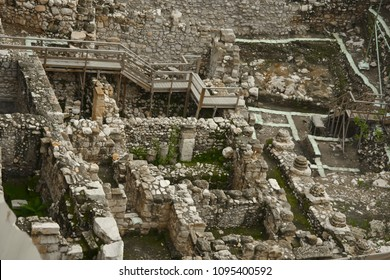 Archaeological excavations of ancient Jerusalem.Remains of the walls of the houses of the times of King Solomon and the first Temple.