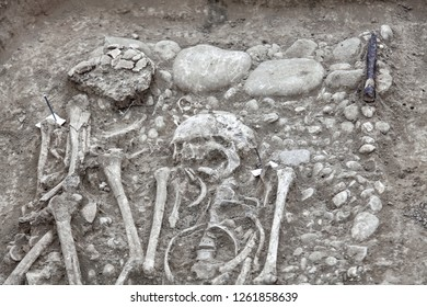 Archaeological excavations. Human remains (bones, two skeletons and skulls) in the durty ground, with artefacts found in the tomb. The part of digger process. Outdoors, copy space, close up.