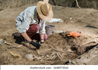 Archaeological excavations, human skeleton remains, found in an ancient tomb.  - Shutterstock ID 1648973563
