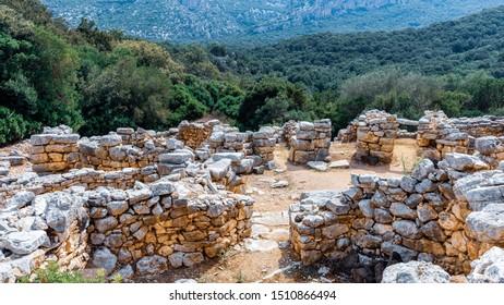 Archaeological excavations near Oliena, Sardinia, Italy.