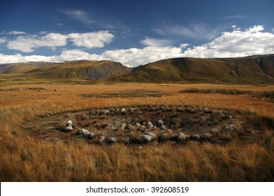 Archaeological excavations on the site of ancient Scythian burials of Pazyryk culture on the river Ak-Alakha, where was found the mummy of a shaman, Plateau Ukok, Altai mountains, Siberia, Russia
