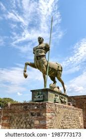 Archaeological Park of Pompeii. Mitoraj centaur statue in the forum. Campania, Italy. 02.06.2021