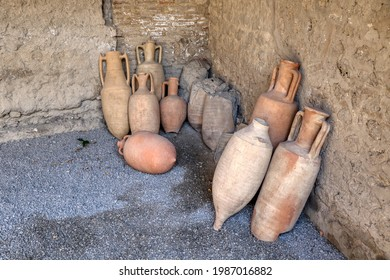 Archaeological Park of Pompeii. Vases and archaeological finds in the house of the Menander. Campania, Italy - Shutterstock ID 1987016882