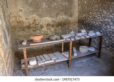 Archaeological Park of Pompeii. Vases and archaeological finds in the house of the Menander. Campania, Italy - Shutterstock ID 1987017473