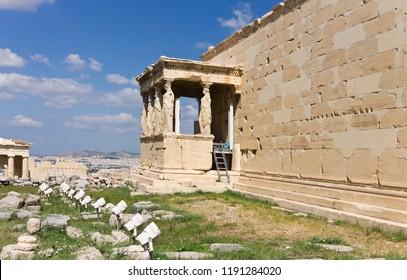 Archaeological Place Erechtheion at Parthenon Acropolis of Athens