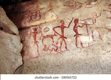 Archaeological pre-historic human cliff paint over 4000 years ago, Nakhonratchasima, Thailand.