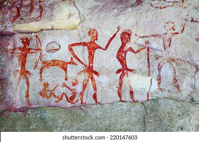 Archaeological pre-historic human cliff paint over four thousand years ago Nakhonratchasima Thailand