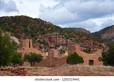 the archaeological remains of  a native american giusewa pueblo and spanish colonial mission at jemez historic site in jemez springs, new mexico