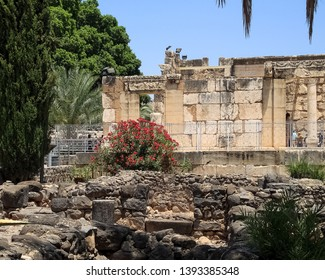 Archaeological ruins of synagogue and dwelling at Capernaum, town of St. Peter and Jesus