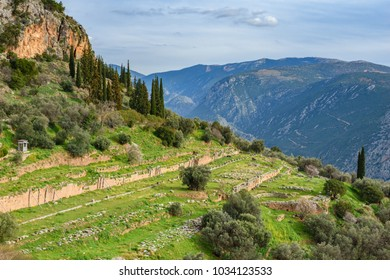 The archaeological site of ancient Delphi and the teple of Apollo in Fokida, Greece, Europe